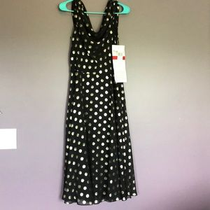 Black and gold polka dot dress